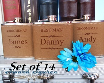 Set of 14, Groomsmen Wedding Gift // 14 Leather Flask Set, Engraved Flask, Flask Leather Wrapped, Best Man Gift