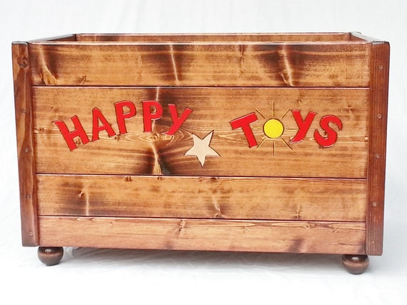 Toy Chests For Boys : Happy toy box large wood storage chest kids toddler boy