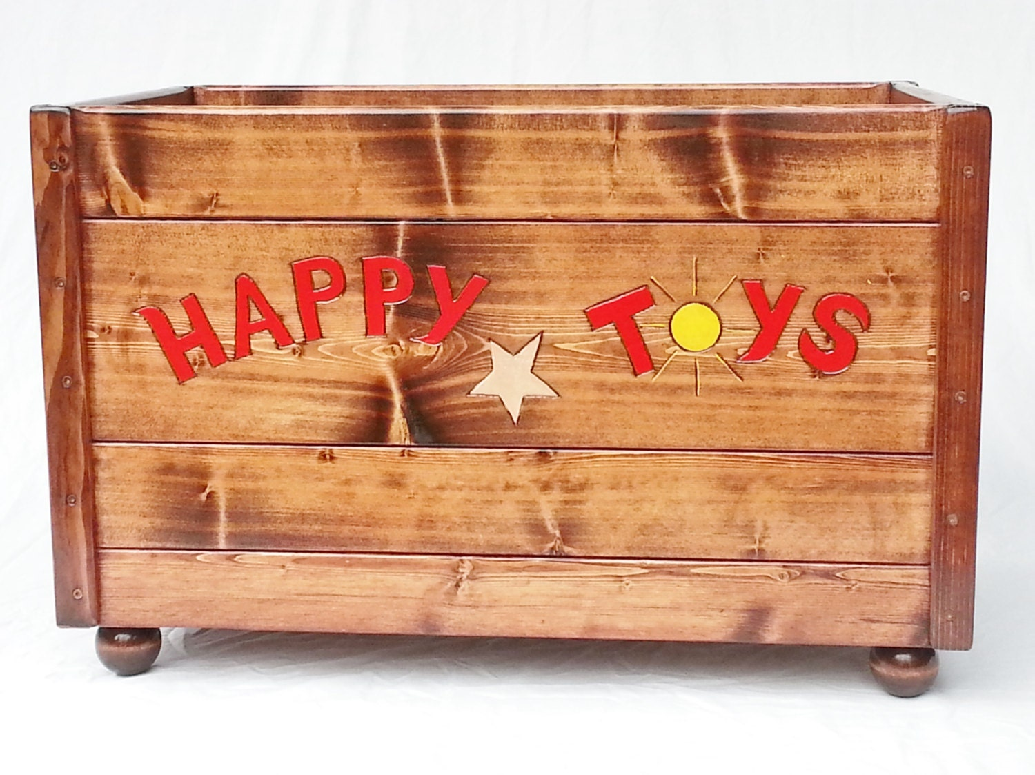 Childrens Jumbo Bedroom Room Tidy Toy Storage Chest Box Trunk: Happy Toy Box Large Wood Storage Chest Kids Toddler Boy