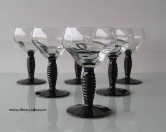 Set of six Art Deco optical blown wine glasses.