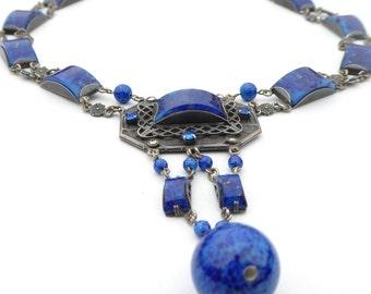 Necklace Royal Blue Unique Vintage Czech Necklace