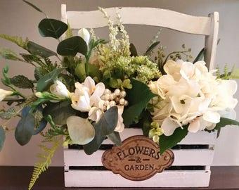 Farmhouse Decor-Farmhouse Flower Arrangement-White Wedding Arrangement-White Hydrangea Arrangement-Shabby Chic Decor