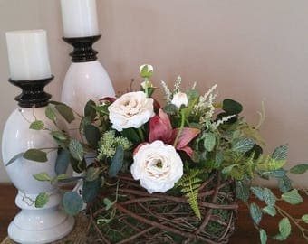 Farmhouse Flower Arrangement-Rustic Flower Arrangement-Farmhouse Decor-Farmhouse Centerpiece-Grapevine Centerpiece