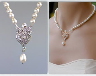 Pearl and Crystal Necklace, Pearl Bridal Necklace, Pearl Wedding Necklace, Wedding Jewelry, Bridal Jewelry, LUCY Pearl