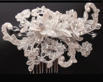 Champagne Lace Beaded Bridal Comb with Pearls, Crystals and Rhinestones