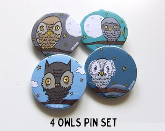 Owls Collection Button or Magnetic - 38mm Small Pin - Illustration  - Fridge Decoration - Pinback Button - Lifestyle