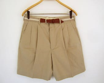 ON SALE Unworn Vintage Mens Pleated Shorts Size 32 Khaki Brown Tan with Removable Belt Preppy Golf Shorts Casual Knightsbridge Made in the U