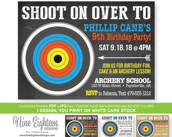 Archery Birthday INVITATION. Custom printable PDF & JPG, Choose your background