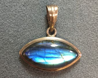 Nice Chunky Labradorite Sterling Silver Pendant-Lots of Blue in the Stone.  Free shipping