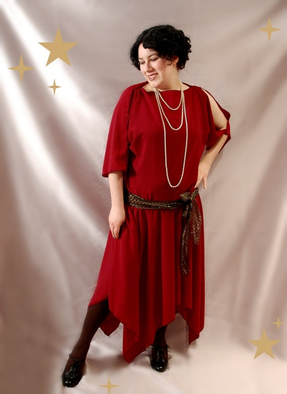 1920s Downton Abbey Style Clothes Plus Size Deep Red Flapper 1920s Dresses $92.13 AT vintagedancer.com