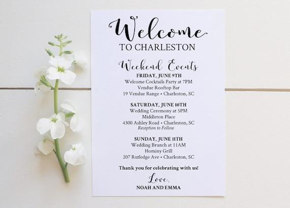 wedding welcome bag printable editable wedding by