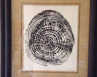 Pine Tree Print original print taken from the cross section of a pine tree. Signed, dated, numbered by the artist, Luke Henry Hattendorf