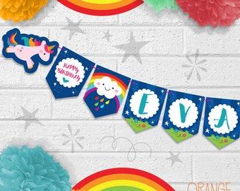 Personalised Childrens UNICORN RAINBOW Rain CLOUD Birthday Party Banner Stationary
