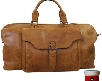 Large travel bag NAPOLEON of cognac-brown rodeo-leather - BARON of MALTZAHN