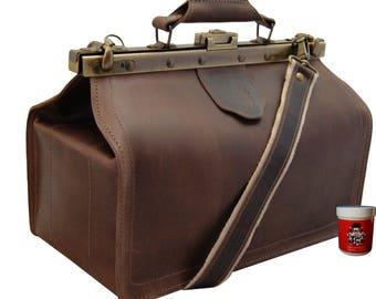 Shoulder bag HIPPOCRATES brown Saddle-Leather - Made in Germany