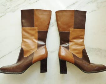 Vintage Boots Patchwork Boots