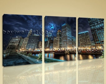 Large Chicago Downtown At Night Cityscape On Canvas HD Giclee Print Wall Art, Large Chicago Wall Art, Living Room, Oil