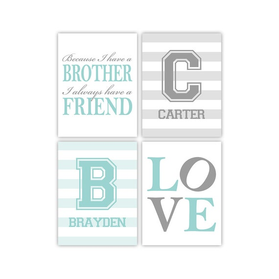 brother quotes | twin boys nursery art print | because I have a ...