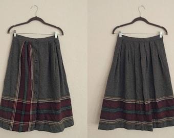 Contemporary Corner Skirt (Size 11). Wool Skirt. Striped Skirt. Plaid Skirt.  Front Buttons. Vintage Skirt.