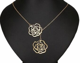 Gold Rose Lariat Necklace