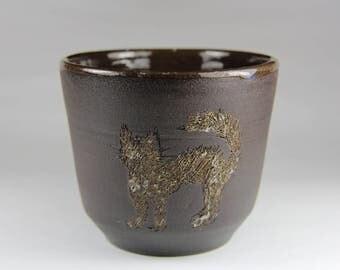 Dark brown Stoneware Teabowl/Chawan with cat/ with Glaze Inside/ Rustic Pottery /wheel Coffee mug