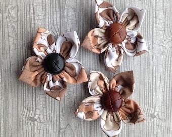Three handmade vintage fabric flower hair clips/accessories