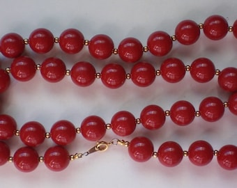 Vintage Cherry Red Plastic Bead Necklace perfect for the Holidays  - 4940