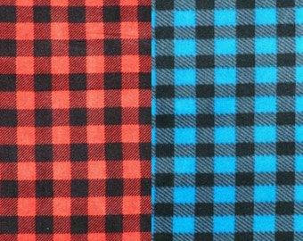 Large size red or blue check polar fleece Bespoke dog jumpsuit/sweater/onesies/pyjamas/coat with organic cotton/hemp cuffs