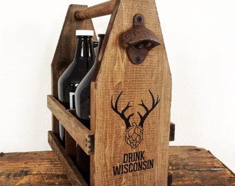 Custom Growler Wooden Beer Carrier With Hops and Antler Graphic