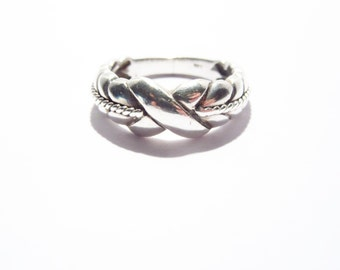 Vintage Sterling X Band Ring 925 Silver Size 6