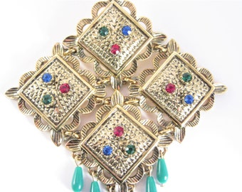 Large Sarah Coventry Brooch Multi Color Temple Lites Vintage 60s