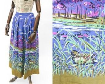 SALE Vintage Duck Print Blue Summer Skirt • Nature Novelty Print Midi Skirt • Rockabilly Skirt • High Waisted Cotton Skirt With Pockets. XS