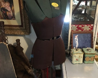 1940s Tailors Adjustable Dress Form Mannequin, Solid Steel Base