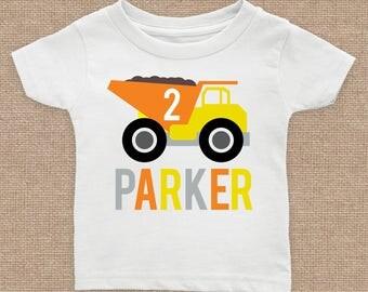 Caution Dump Truck Birthday Custom T Shirt, Construction, 1st 2nd 3rd 4th 5th 6th, Any Age, Short Sleeve