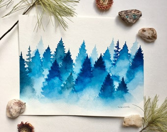 Foggy Blue Pines - Original Watercolor Painting