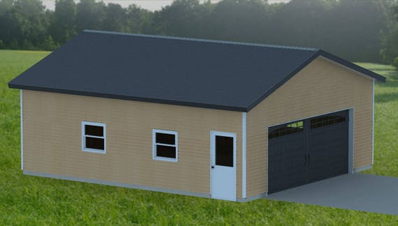Double garage 001 building plans 24 39 x 28 39 from for Construction garage double