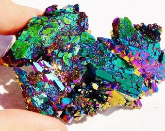 "6381xx Rainbow FLAME AURA Quartz Titanium Crystal Healing Cluster 63gm xxxlarge 75mm FREE Usa Shipping!!  2.9"""