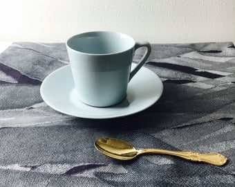 Beautiful vintage Arabia Finland light blue ceramic coffee cup and saucer designed in 1960s, Made in Finland