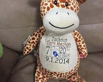 Personalized giraffe stuffed animal