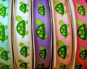"2 Yards 7/8"" US Designer Green Turtle Print - Choice of Color - Grosgrain Ribbon"