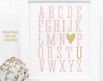 Alphabet ABC I Love You - Printable Baby Girl Nursery Room Art Baby Shower Birthday Wedding Decoration Sign - Blush Pink Gold Glitter Heart