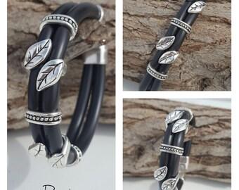 doublestrand Rubber, beaded Bracelet