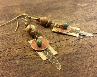 Boho Earrings, Mixed Metal Earrings, Metal Earrings, Dangle Earrings, Drop Earrings, Handmade Earrings, Hammered Metal Earrings