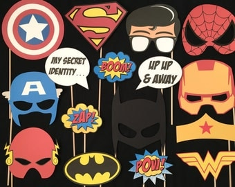 Superhero Themed Photo Booth Props