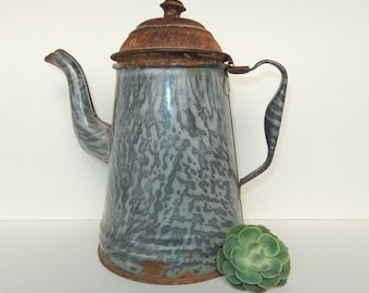 Vintage Gray Graniteware Coffee Pot With Lid