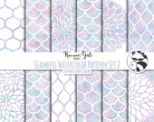 Seamless Watercolor Pattern Set 2 in Cotton Candy Colors Digital Paper Set - Personal & Commercial Use