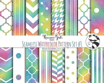 Seamless Watercolor Pattern Set #1 in Bright Rainbow Colors Digital Paper Set - Personal & Commercial Use