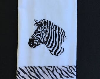 Zebra embroidered  Kitchen towel, Dish towel  Hostess gift Housewarming