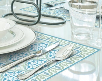 Set of vinyl placemats in green and turquoise. Tiles pattern printed to order on durable PVC\Linoleum. Art mat tableware.