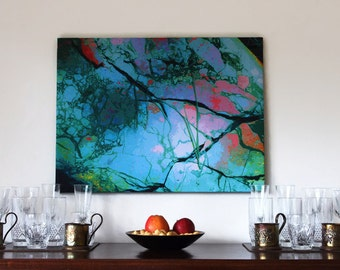 "Original Wall art - Turquoise Green to Soft Pink Abstract - 26.7""x 20"""